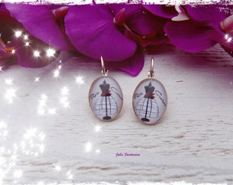 "Earrings ""Paris couture"" - Cabochon oval 15 x 20 mm"