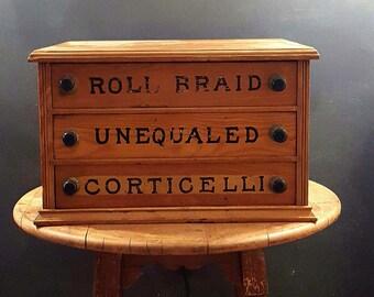 Antique General Store Thread Display Case, Corticelli Braid, Jewelry Box, Desk Organizer