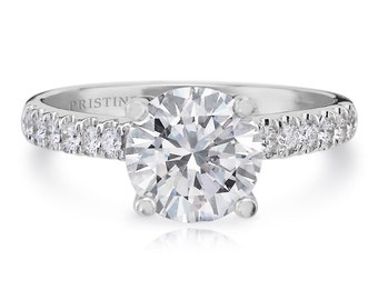 Forever One Diamonds Engagement Ring Round Center Moissanite 1.50ct  and .25ct Natural Diamonds 18k White Gold AnniversaryRing