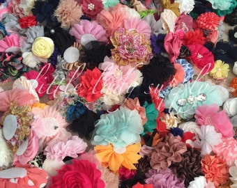 WHOLESALE Fabric Flower Grab Bag, headband flowers, rosettes, sequin bows, baby shower flowers, baby headbands
