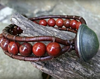 Leather Wrap Bracelet made from handsome Poppy Jasper beads. Unisex Wrap Bracelet