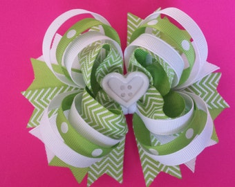 lime green white chevron hairbow