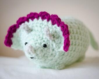 Cute Mystery Triceratops Dinosaur Amigurumi Kawaii Triceratops - Amigurumi Dinosaur Crochet  OOAK