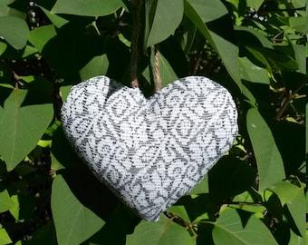 Hand sewn stuffed fabric hanging heart - wedding, decorative, shabby chic, cottage,