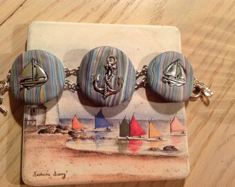 Handmade Bracelet with Anchor and Sailboats