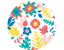"""Tropical Flowers Paper Plates (set of 8), Bright Floral Party Plate, Fiesta Birthday Wedding Cinco de Mayo, 9"""" Round Floral Paper Plate"""