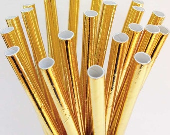 Gold straws, Meri Meri Gold foil straws, Gold paper straws, Metallic gold party supplies, Gold Wedding Decor, Birthday, Prom, Graduation