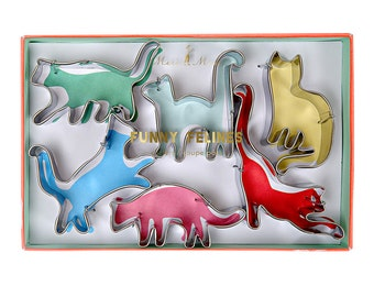 Cat Cookie Cutters (set of 6), Funny Felines Cookie Cutter Set by Meri Meri, Cat Lover Birthday Party