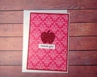 Thank you card, damask card, blank card, card for teachers