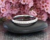 Diamond Wedding Band in 14k White Gold Half Eternity Diamond Wedding Ring Dainty Diamond Ring Anniversary Ring (Bridal Ring Set Available)