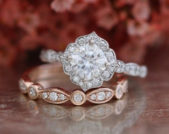 Cushion Cut Forever One Moissanite Engagement Ring In 14k White Gold And Rose Bezel Scalloped