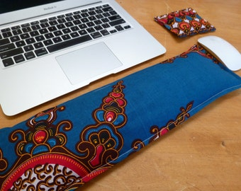 Keyboard Pad Mouse Pad - Ergonomic Wrist Rest Heat Pack - Support Wrist while Typing - computer accessory -  Turquoise Batik Desk Accessory