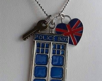 Blue Police Box, UK, RUN, necklace