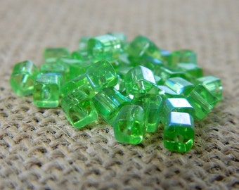 4mm AB Light Green Square Glass Beads - 25 Beads