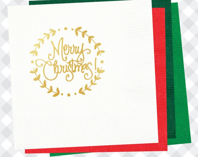 Merry Christmas with Wreath Napkins (Qty 25)
