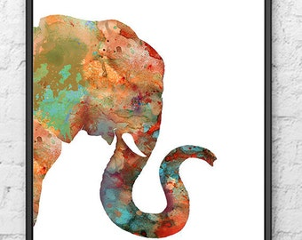 Elephant Art Print, Watercolor Animal Painting, African Animal Art, Elephant Wall Decor, Animal Home Decor, Jungle Art, Safari Art - 179