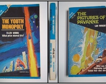 The Pictures of Pavanne by Lan Wright & The Youth Monopoly by Ellen Wobig ACE Double Novel 1968 Vintage Sci-Fi Paperback