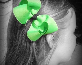 Neon Green Hair Bow, Neon Boutique Hair Bow, Neon Hairbow, Neon Hair Clip, Boutique Hair Bow, Bows, School Hair Bows, Hair Bows for Babies