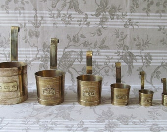 Vintage French Brass Measures for Liquid in Six Graduating Sizes