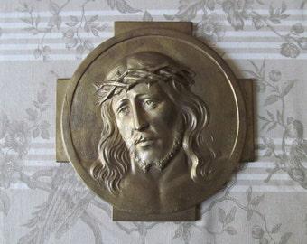 French Bronze Plaque of Jesus Christ - Cast Signed Bronze - R Georgen