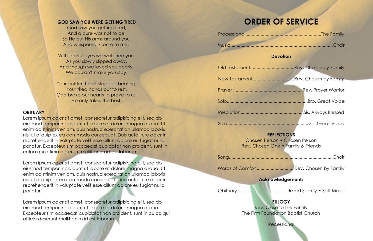 11x17 Gold And White Roseville Printable Funeral Program