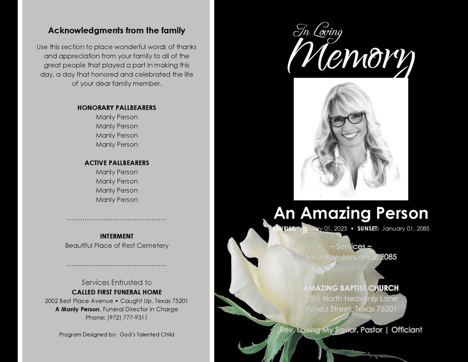 free editable funeral memorial program templates funeral program free