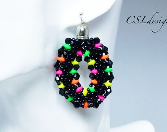 Neon beaded kumihimo earrings