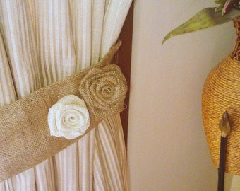 Burlap Tie Back - Curtain Tie Back - Burlap Drape Tie Back - Set of 2 - Rustic Home Decor - Home and Living - Hessian Tie Back