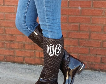 SALE!! Monogrammed Boots, Monogrammed Rain Boots, Christmas Gift for Her
