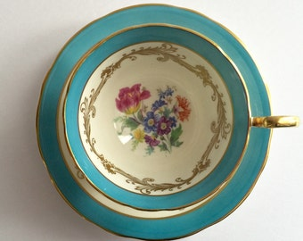 Turquoise Aynsley China Tea Cup & Saucer Teacup Duo