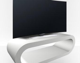 White Matt TV Stand - Large Hoop
