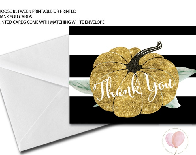 Pumpkin Thank You Card // Made to Match // Folded Thank You // little Pumpkin // Gold Glitter // Instant Download // STARS HOLLOW COLLECTION