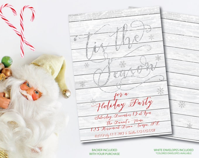 Christmas Party Invitation Christmas Party Invite WOOD Tis the Season Printable Snowflakes Faux Glitter Falling Snow - Holiday Collection