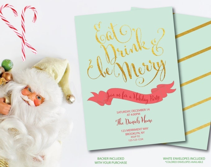 Christmas Party Invitation Christmas Party Invite Printable Faux Gold Foil Eat Drink Be Merry Holiday Blue Gold Glitter - Holiday Collection