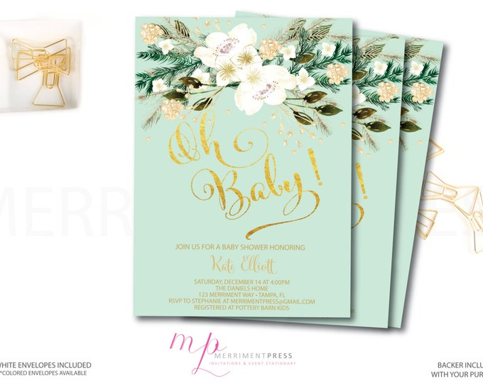 Winter Baby Shower Invitatio // Oh Baby // Winter White // Blue // Faux Foil // Holiday // Evergreens // Boy // MONTPELIER COLLECTION