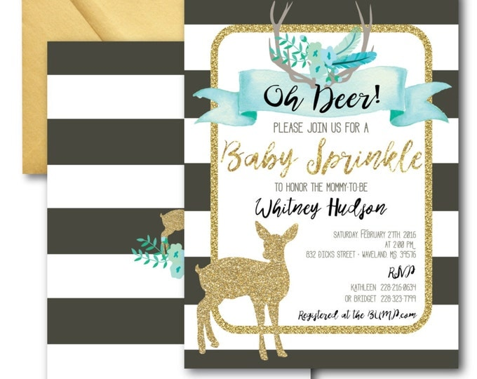Oh Deer Baby Sprinkle Invitation // It's a Boy // Fawn Invitation // Boy // Blue // Grey // Woodland // Gold Glitter // OXFORD COLLECTION