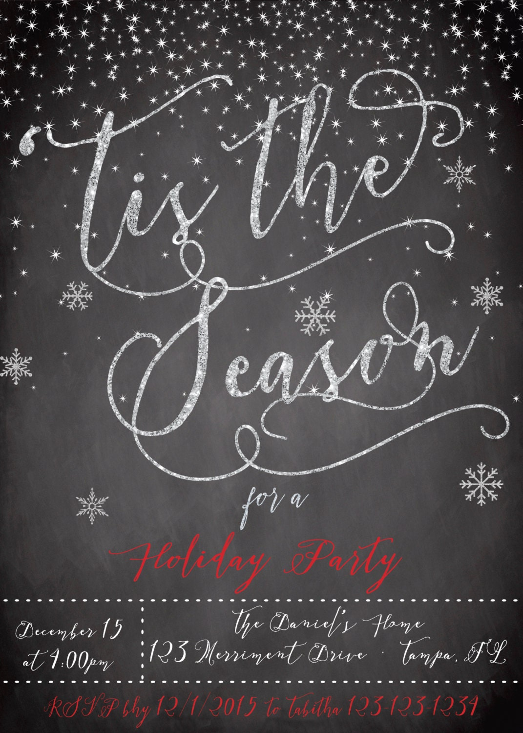 christmas party invitation christmas party invite chalkboard tis