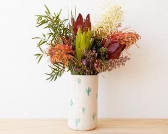 Penelope vase - Cactus patterned porcelain vase. Handmade homewares