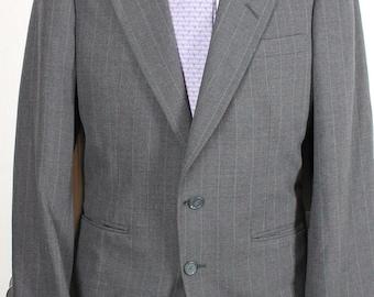 Vintage Suit Givenchy Monsieur Paris Gray Striped Men's Wool Suit 38R