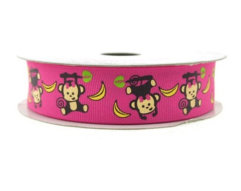 Monkey Hot Pink Grosgrain Ribbon, 7/8-inch, 10-yard
