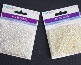 Plastic Pearl Beads, 8mm, 80-Piece