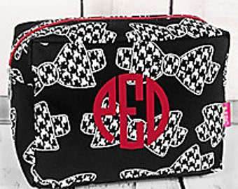 Houndstooth Makeup Bag with Monogram