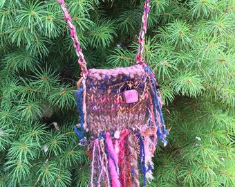 Rustic Handknit Dichroic Glass Treasure Amulet Totem Art Fiber Bag