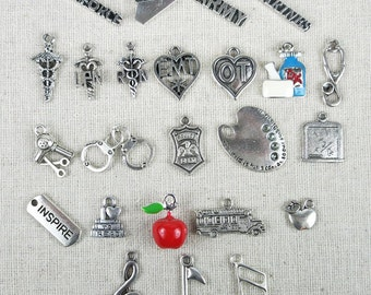 ADD MORE CHARMS - To Any Bangle or Necklace in Shop, *New* Military Armed Forces Charms, Academics Occupations Cheerleading Sports Flowers