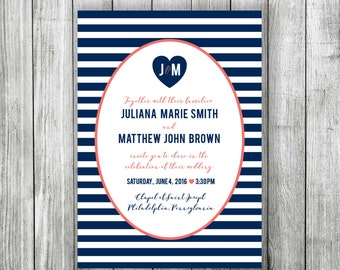 Striped & Monogrammed Wedding Invitation - Customizable and Printable File