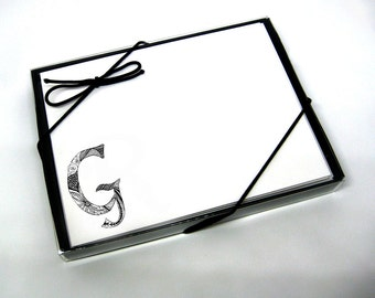 Personalized Note Cards Stationery with Hand Drawn Initial G and Name - Set of 8 Elegant Folded Personalized Cards