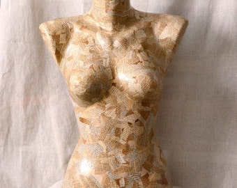 Dress Form Mannequin Papier mache Dress Form Mannequin Bust dress form Display Form Papier Mache Old news papers  Jewelry Display