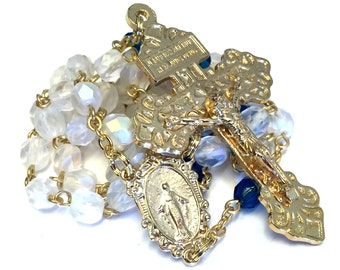 Our Lady of Grace Catholic Handmade Rosary with Czech Glass Beads, a Miraculous Medal and a Pardon Crucifix
