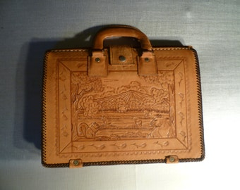 Vintage Tooled Leather Brief Case  Hand Bag Briefcase