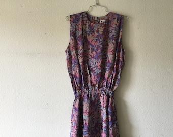 Vintage 80s Floral Dress Sleeveless Summer Sundress